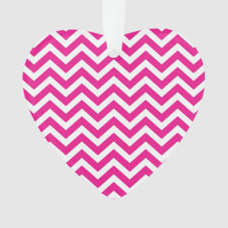 Hot Pink and White Chevron Pattern Ornament