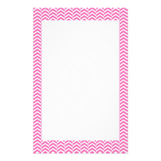 Hot Pink and White Chevron Pattern Stationery Design