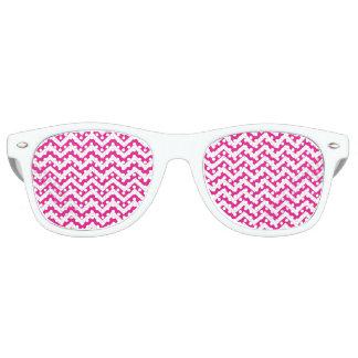 Hot Pink and White Chevron Pattern Wayfarer Sunglasses