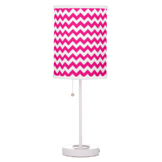 Hot Pink and White Chevron Zigzag Pattern Desk Lamps