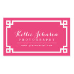 Hot Pink and White Chic Greek Key Border Double-Sided Standard Business Cards (Pack Of 100)
