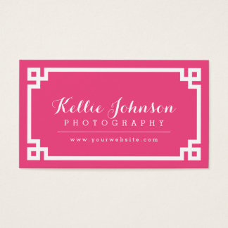 Hot Pink and White Chic Greek Key Border Business Card