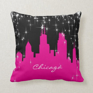 Hot Pink and White Chicago Skyline Throw Pillow