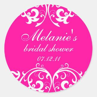 Hot Pink and White Damask Bridal Shower Sticker