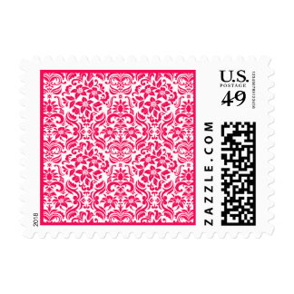 Hot Pink and White Damask Custom Postage Stamp Stamp