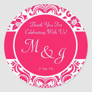 Hot Pink and White Damask Wedding Favor Labels Sticker