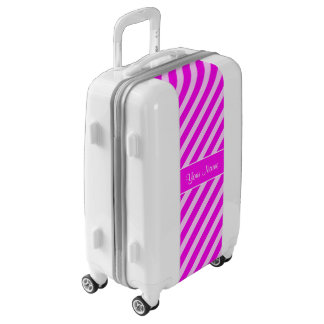 Hot Pink and White Diagonal Stripes Luggage