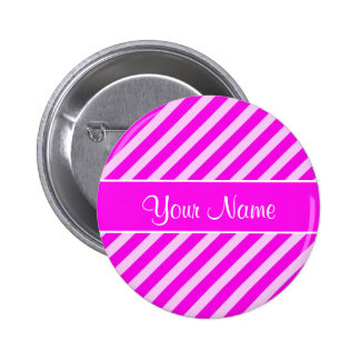 Hot Pink and White Diagonal Stripes Pinback Button