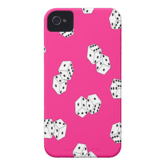 Hot Pink and White Dice Print - Custom iPhone 4 Cover