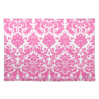 Hot Pink and White Elegant Damask Pattern Cloth Placemat