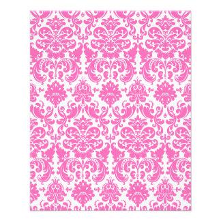 Hot Pink and White Elegant Damask Pattern Flyer