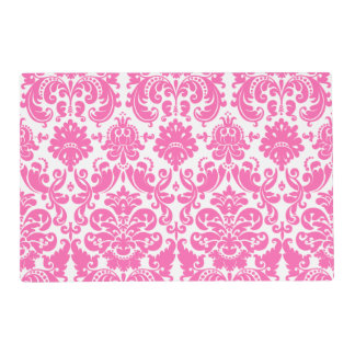 Hot Pink and White Elegant Damask Pattern Laminated Place Mat