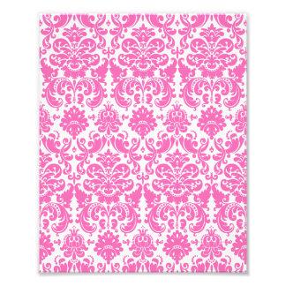 Hot Pink and White Elegant Damask Pattern Photo Print