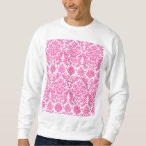 Hot Pink and White Elegant Damask Pattern Sweatshirt