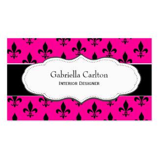 Hot Pink and White Fleur de Lis business cards