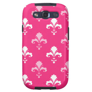 Hot Pink and White Fleur de lis Samsung Galaxy S3 Covers