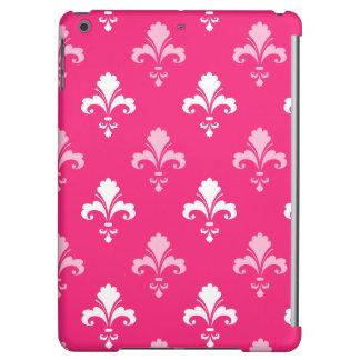 Hot Pink and White Fleur de lis iPad Air Cover