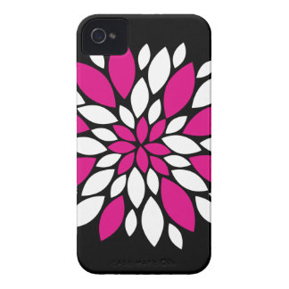 Hot Pink and White Flower Petals Art on Black Case-Mate iPhone 4 Case