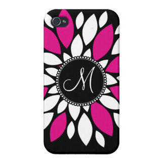 Hot Pink and White Flower Petals Art on Black iPhone 4/4S Covers