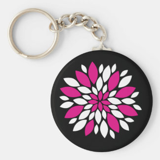 Hot Pink and White Flower Petals Art on Black Keychain
