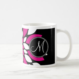 Hot Pink and White Flower Petals Art on Black Mug