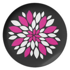 Hot Pink and White Flower Petals Art on Black Party Plates