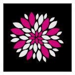 Hot Pink and White Flower Petals Art on Black Print