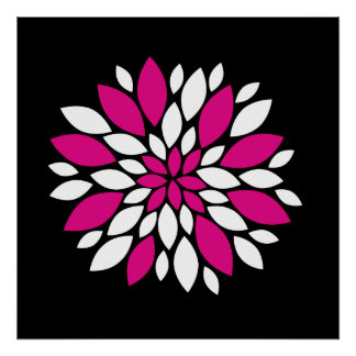 Hot Pink and White Flower Petals Art on Black Poster