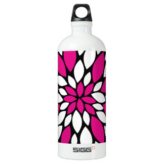 Hot Pink and White Flower Petals Art on Black SIGG Traveler 1.0L Water Bottle