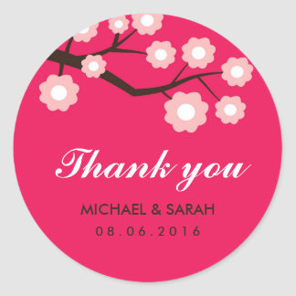 Hot Pink and White Flowers Wedding Favor Sticker
