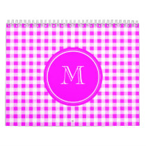 Hot Pink and White Gingham, Your Monogram Calendar
