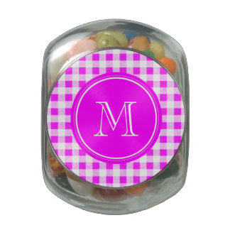Hot Pink and White Gingham, Your Monogram Glass Jar