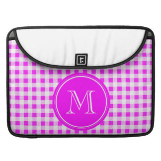 Hot Pink and White Gingham, Your Monogram Sleeves For MacBooks
