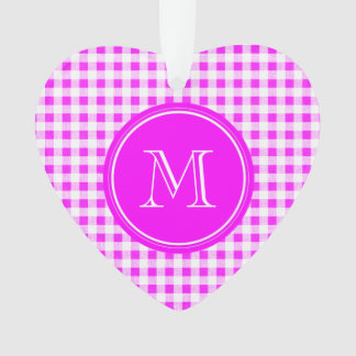 Hot Pink and White Gingham, Your Monogram Ornament