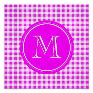 Hot Pink and White Gingham, Your Monogram Poster