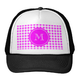 Hot Pink and White Gingham, Your Monogram Trucker Hat