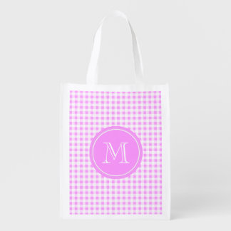 Hot Pink and White Gingham, Your Monogram Market Totes