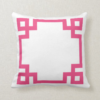 Hot Pink and White Greek Key Border Throw Pillow