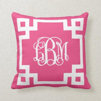 Hot Pink and White Greek Key Script Monogram LBM Throw Pillow