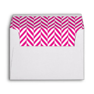 Hot Pink and White Herringbone Lined Envelopes