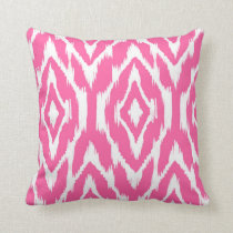 Hot Pink and White Ikat Pattern Pillow