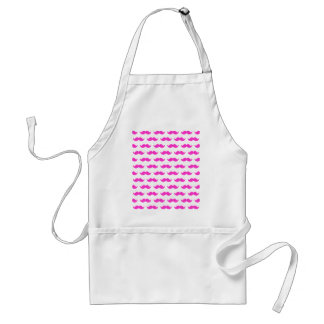 Hot Pink and White Mustache Pattern 1 Adult Apron