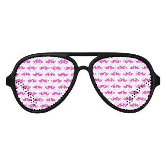 Hot Pink and White Mustache Pattern 1 Aviator Sunglasses