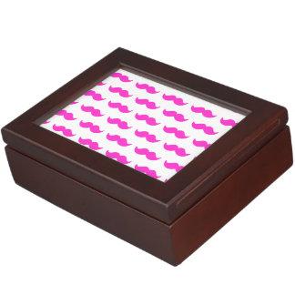 Hot Pink and White Mustache Pattern 1 Memory Box