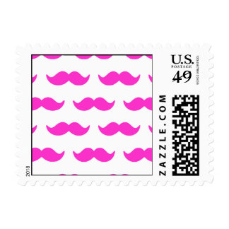 Hot Pink and White Mustache Pattern 1 Postage Stamp