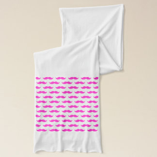 Hot Pink and White Mustache Pattern 1 Scarf