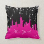 Hot Pink and White New York Skyline Throw Pillow