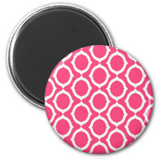 Hot Pink and White Pattern Gifts 2 Inch Round Magnet