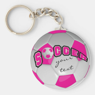 Hot Pink and White Personalize Soccer Ball Basic Round Button Keychain