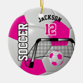 Hot Pink and White Personalize Soccer Ball Ceramic Ornament